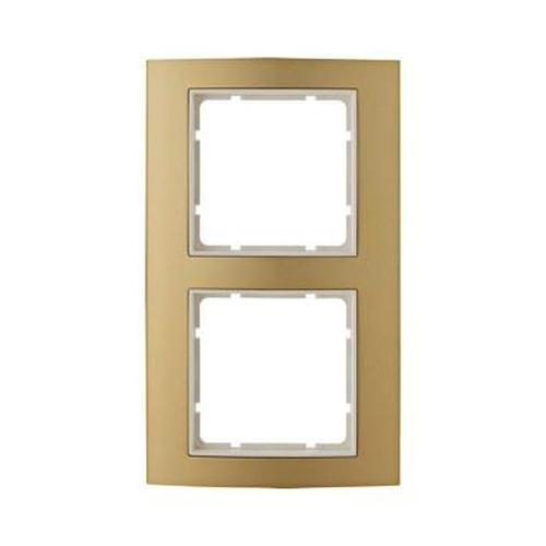 Berker 10123046 Rahmen 2Fach B.3 Alu, Gold/Polarweiß