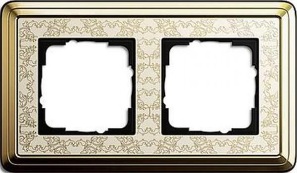 GIRA 0212673 Rahmen 2-Fach ClassicX Art Messing-Cremeweiß