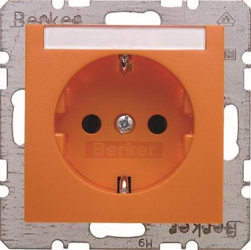 Berker 47501907 Steckdose SCHUKO mit Beschriftungsfeld S.1/B.3/B.7 Orange, Matt