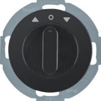 Berker 38122045 Jalousie-Drehschalter mit Zentralstück und Drehknopf R.Classic Schwarz, Glänzend