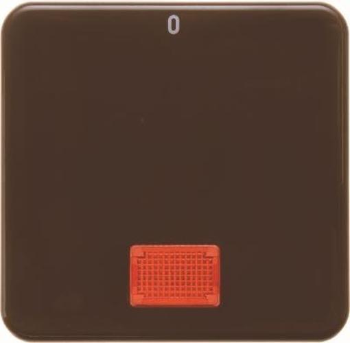 Berker 155801 Wippe mit roter Linse und Aufdruck '0' wg Up IP44 Braun, Glänzend