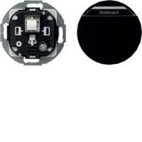 Berker 16402035 Relais-Schalter mit Zentralstück für Hotelcard R.Classic Schwarz, Glänzend