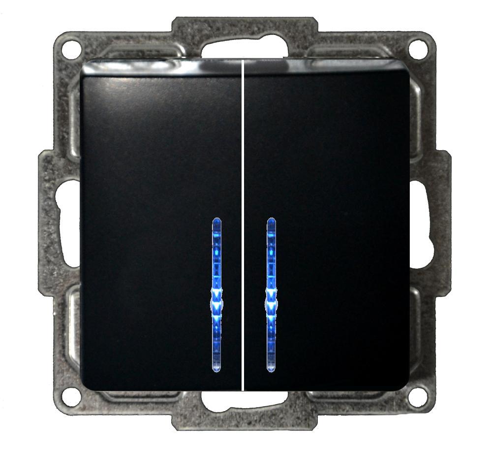 moderna serienschalter mit led schwarz schalter schwarz moderna schalter steckdosen. Black Bedroom Furniture Sets. Home Design Ideas