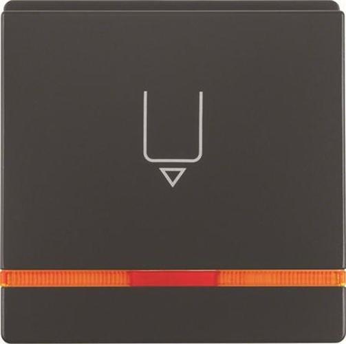 Berker 16406086 Hotelcard-Schaltaufsatz mit Aufdruck und oranger Linse Q.1/Q.3 Anthrazit, Samt