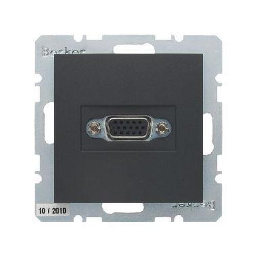 Berker 3315411606 VGA Steckdose mit Schraub-Liftklemmen B.3/B.7 Anthrazit, Matt