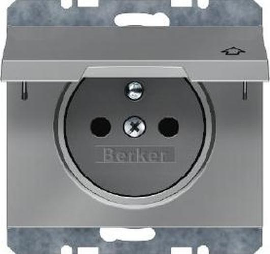 Berker 6768777104 Steckdose mit Schutzkontaktstift und Klappdeckel K.5 Edelstahl Rostfrei