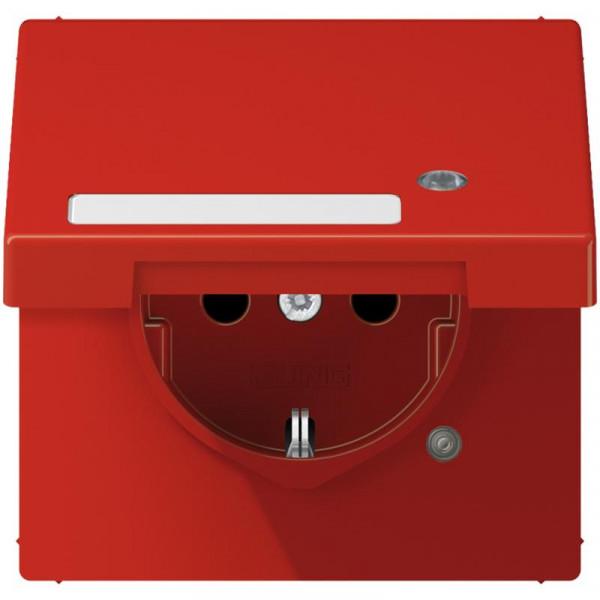 JUNG LS1520BFKLKORT Steckdosen-Einsatz mit Funktionsanzeige und Klappdeckel Rot