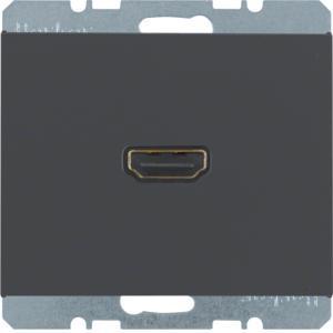 Berker 3315437006 High Definition Steckdose mit 90°-Steckanschluss K.1 Anthrazit, Matt