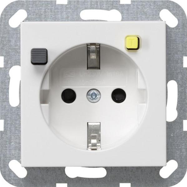 GIRA 267727 FI-Steckdosen-Einsatz mit Reinweiß-Seidenmatt