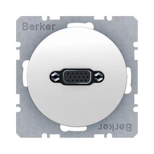 Berker 3315412089 VGA Steckdose mit Schraub-Liftklemmen R.1/R.3 Polarweiß, Glänzend