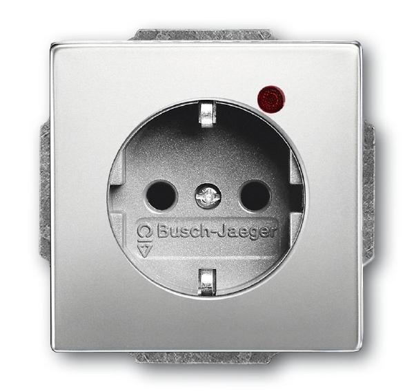 Busch-Jaeger 2310EUGL/VA-866-11 Busch-Protector Steckdose mit Überspannungsschutz Edelstahl