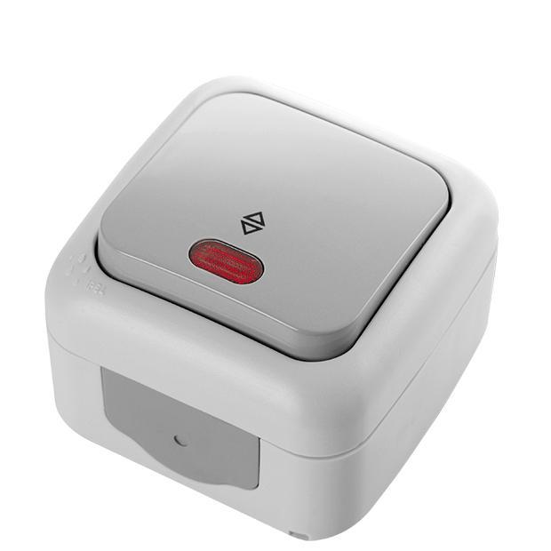 viko feuchtraum wechselschalter mit led ip54 grau dunkelgrau aqua proof viko schalter. Black Bedroom Furniture Sets. Home Design Ideas