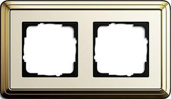 GIRA 0212633 Rahmen 2-Fach ClassicX Messing-Cremeweiß