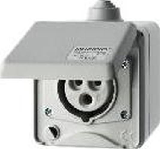 Berker 558101 CEE Steckdose 3-polig Ap 16 A mit Klappdeckel Verbindungssysteme Lichtgrau