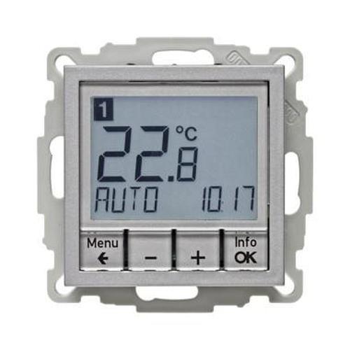 Berker 20441404 Temperaturregler, Schließer, mit Zentralstück, zeitgesteuert B.7 Alu, Matt