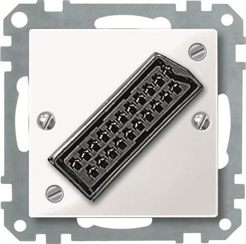 Merten 468419 Zentralplatte für EURO-AV-Steckbuchse Polarweiß-Glänzend