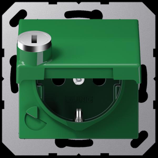 JUNG AS1520BFKLSLGN Steckdosen-Einsatz mit Sicherheitsschloss Grün-Hochglänzend