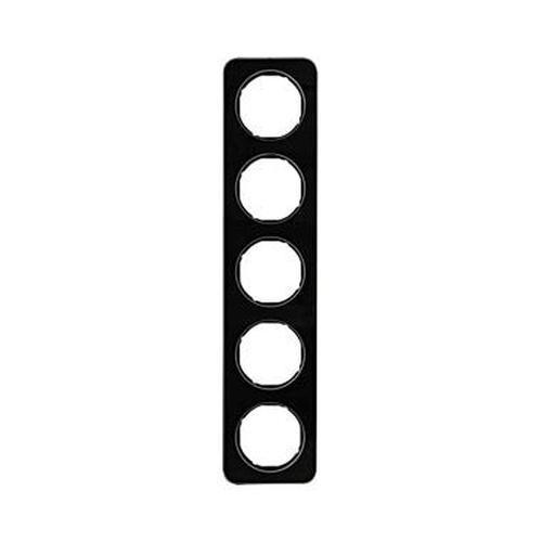 Berker 10152116 Rahmen 5Fach R.1 Glas, Schwarz
