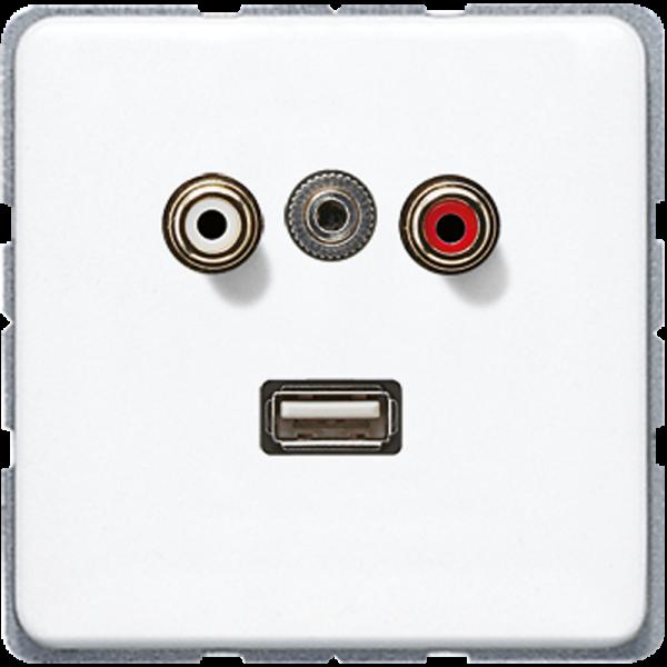 JUNG MACD1092WW Cinch Audio-Miniklinke 3,5 mm-USB2.0 Alpinweiß