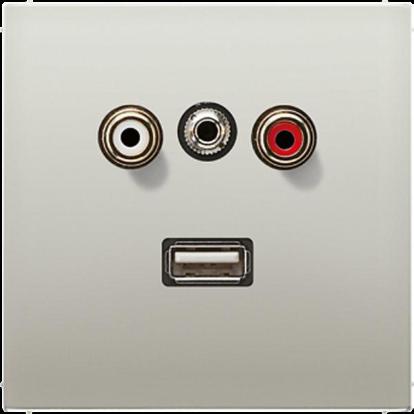 JUNG MAES1092 Cinch Audio-Miniklinke 3,5 mm-USB2.0 Edelstahl