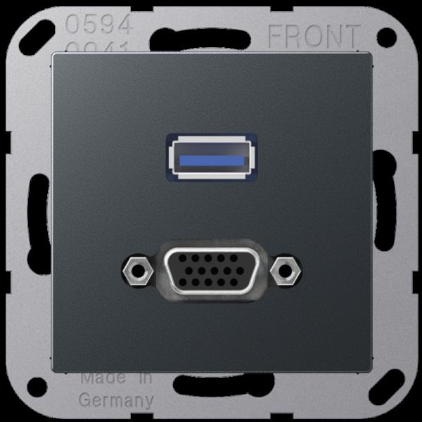 JUNG MAA1183ANM USB2.0/VGA Anthrazit-Matt