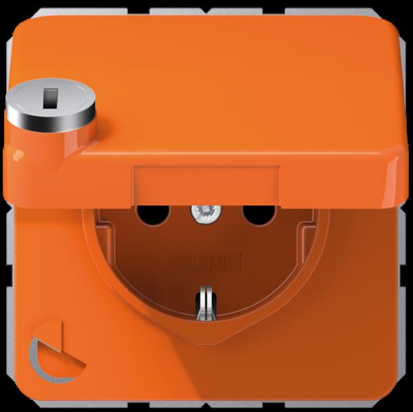 JUNG CD1520BFKLSLO Steckdosen-Einsatz mit Sicherheitsschloss Orange
