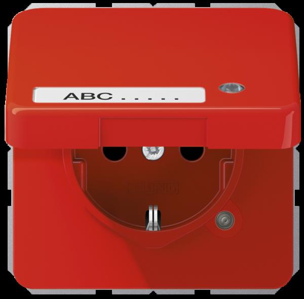 JUNG CD1520BFKLKORT Steckdosen-Einsatz mit Klappdeckel, Schriftfeld und Funktionanzeige Rot