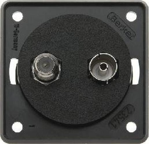 Berker 9456005 Antennen-Verbinderdose Radio/SAT, Integro Modul-Einsätze, Schwarz Matt