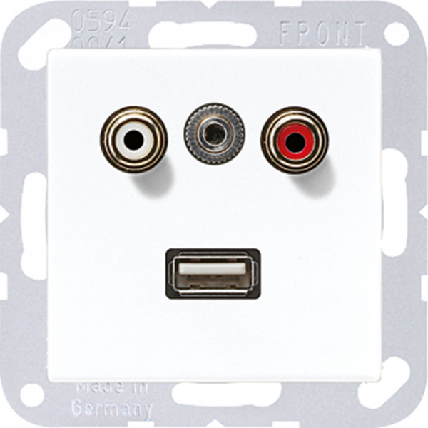 JUNG MAA1092WW Cinch Audio-Miniklinke 3,5 mm-USB2.0 Alpinweiß