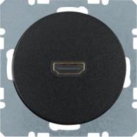 Berker 3315432045 High Definition Steckdose mit 90°-Steckanschluss R.1/R.3 Schwarz, Glänzend