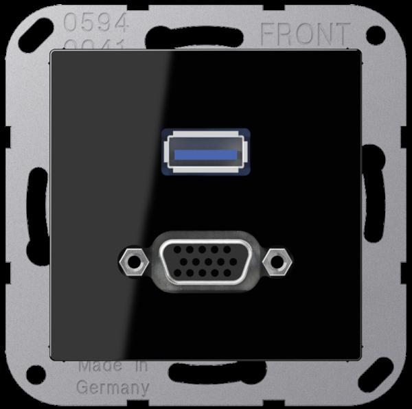 JUNG MAA1183SW USB2.0/VGA Schwarz