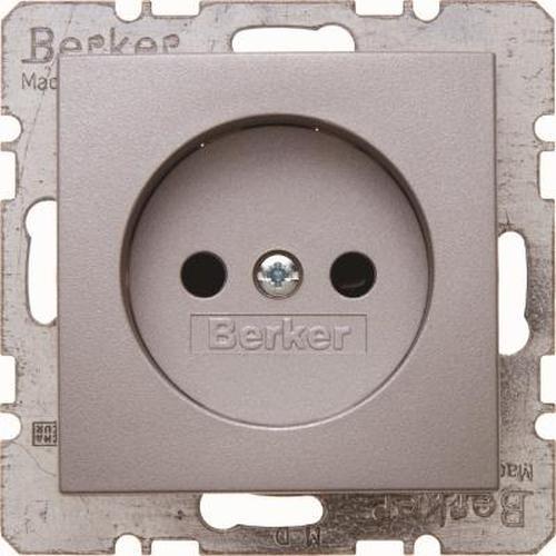 Berker 6167331404 Steckdose ohne Schutzkontakt mit erhöhtem Berührungsschutz B.7 Alu, Matt