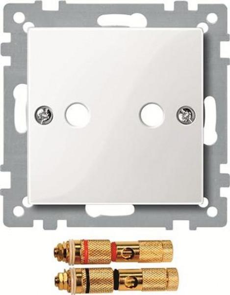 Merten 468819 Zentralplatte mit High-End Lautsprecher-Steckverbinder Polarweiß-Glänzend