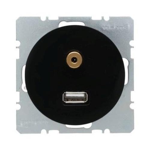 Berker 3315392045 USB/3,5 mm Audio Steckdose R.1/R.3 Schwarz, Glänzend