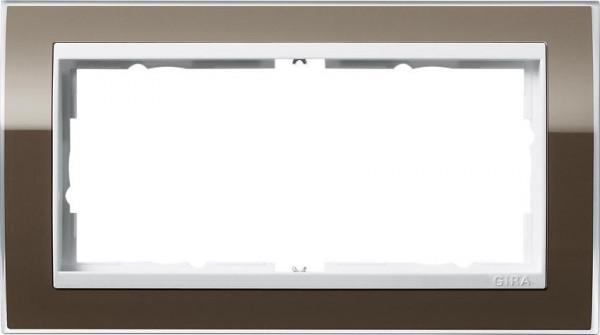 GIRA 1002763 Rahmen 2-Fach E2 ohne Mittelsteg Event-Klar Braun/ Reinweiß-Glänzend