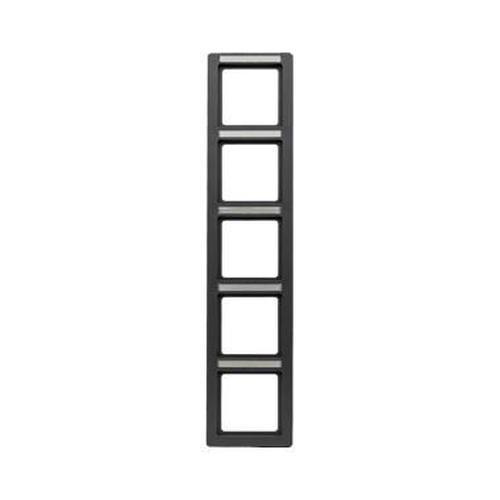 Berker 10156016 Rahmen 5Fach mit Beschriftungsfeld Q.1 Anthrazit, Samt