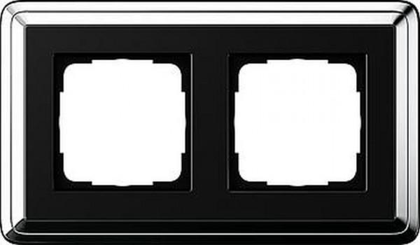 GIRA 0212642 Rahmen 2-Fach ClassicX Chrom-Schwarz