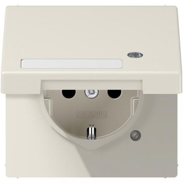 JUNG LS1520BFKLKO Steckdosen-Einsatz mit Funktionsanzeige und Klappdeckel Creme-Weiß