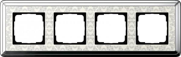 GIRA 0214683 Rahmen 4-Fach ClassicX Art Chrom-Cremeweiß