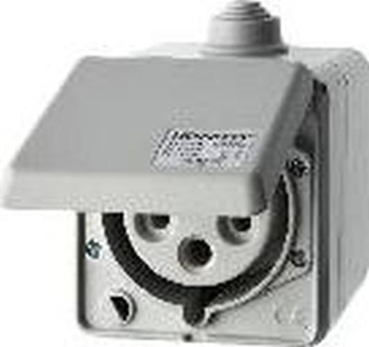 Berker 558201 CEE Steckdose 5-polig Ap 32 A mit Klappdeckel Verbindungssysteme Lichtgrau