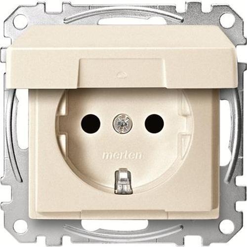 Merten MEG2310-0444 Schuko Steckdosen-Einsatz mit Klappdeckel und EBS Weiß