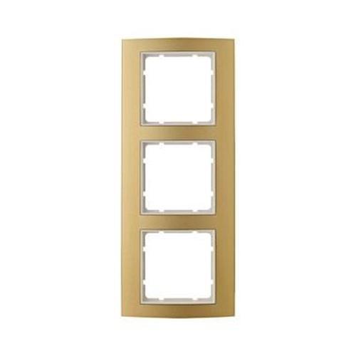 Berker 10133046 Rahmen 3Fach B.3 Alu, Gold/Polarweiß