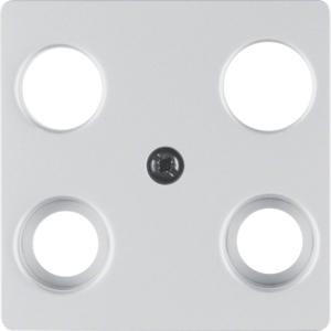 Berker 14837003 Zentralplatte für Antennen-Steckdose 4Loch Zentralplattensystem Alu