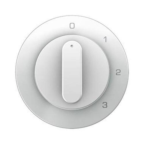 Berker 10962089 Zentralstück mit Drehknopf für 3-Stufenschalter R.1/R.3 Polarweiß, Glänzend