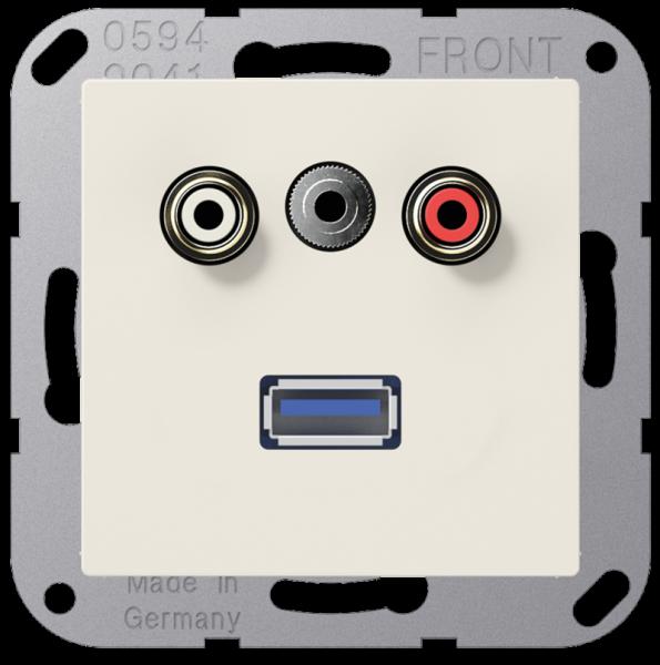 JUNG MAA1092 Cinch Audio-Miniklinke 3,5 mm-USB2.0 Cremeweiß
