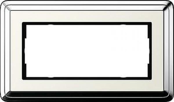 GIRA 1002643 Rahmen 2-Fach ohne Mittelsteg ClassicX Chrom-Cremeweiß