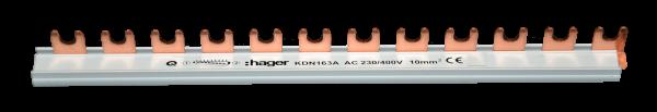 Hager KDN163A Phasenschiene 1-Polig 10mm² 12-Teilig Gabel