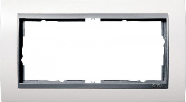 GIRA 1002806 Rahmen 2-Fach E2 ohne Mittelsteg Event Reinweiß-Glänzend/Farbe-Alu