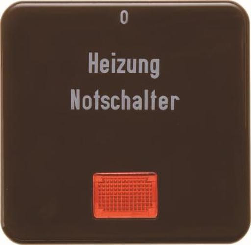 Berker 156901 Wippe 'Heizung' mit roter Linse wg Up IP44 Braun, Glänzend