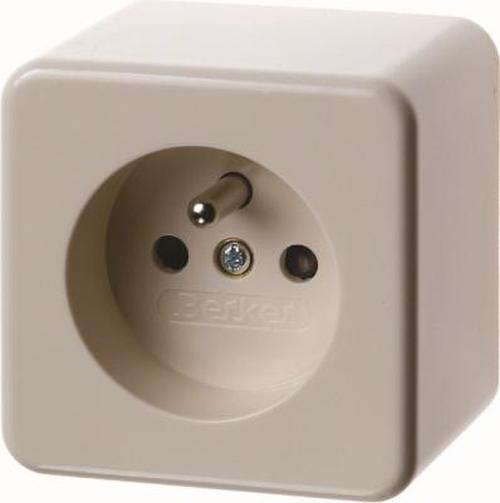 Berker 67600640 Steckdose mit Schutzkontaktstift m. erh. Berührungsschutz Aufputz Weiß, Glänzend